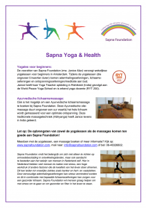 Flyer Sapna Yoga & Health